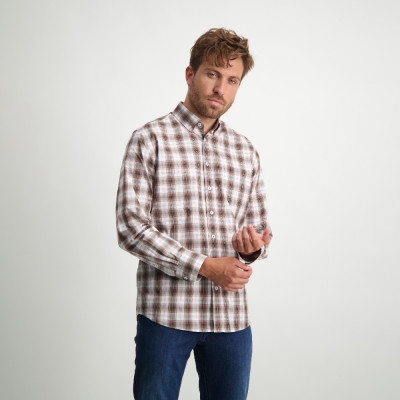 Checked-organic-cotton-shirt---dusty-pink/sepia