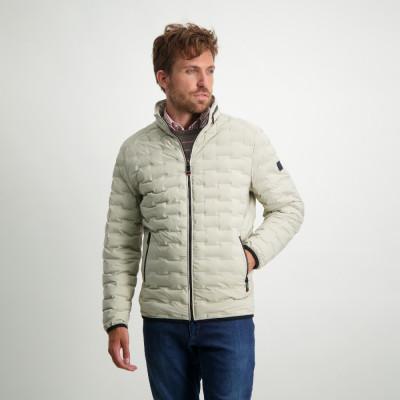 Short-jacket-with-nylon-details---cream-plain