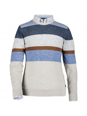 Pullover,-Rundhalsausschnitt,-Streifen