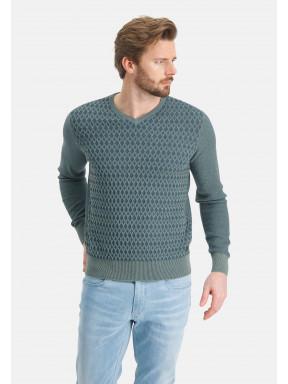 Fijngebreide-V-hals-trui---bladgroen/grijsblauw