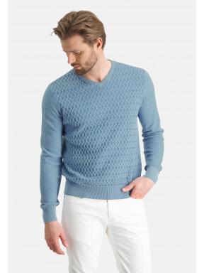 Fijngebreide-V-hals-trui---middenblauw/grijsblauw