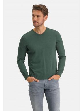 Pullover,-Bio-Baumwolle,-Brustlogo---dunkelgrün-uni