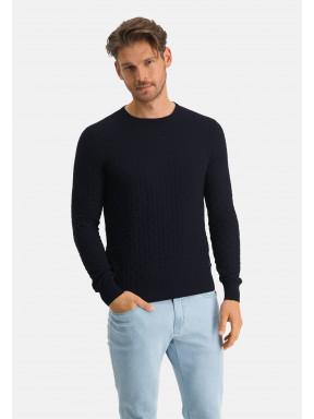 Ronde-hals-trui-met-structuurdessin---donkerblauw-uni