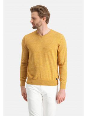 V-hals-trui-van-katoen-mouline---mango/beige