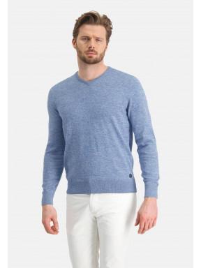 V-hals-trui-van-katoen-mouline---middenblauw/grijsblauw