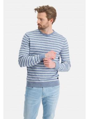 Gestreepte-trui-met-ronde-hals---middenblauw/greige