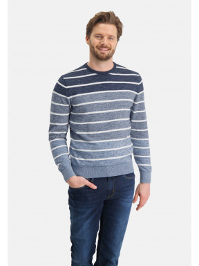 Gestreepte-trui-met-ronde-hals---donkerblauw/grijsblauw
