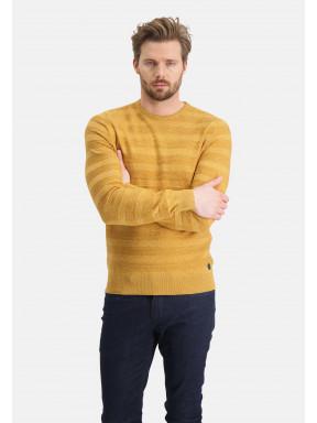 Mouliné-trui-met-ronde-hals---mango/beige