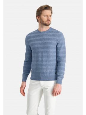Mouliné-trui-met-ronde-hals---middenblauw/grijsblauw