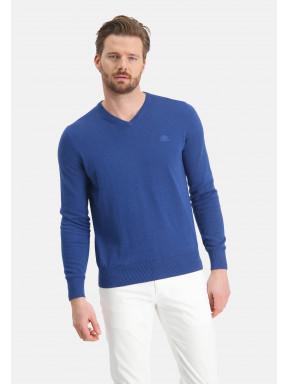 Pullover,-V-Ausschnitt,-normale-Passform---kobalt-uni
