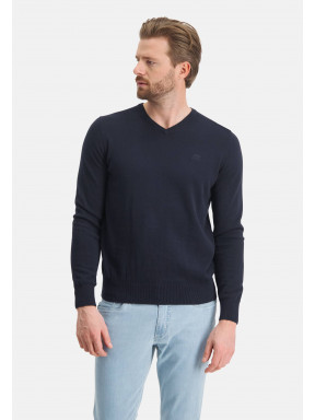 Pullover,-V-Ausschnitt,-normale-Passform---dunkelblau-uni