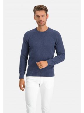 Pullover,-Recycelte-Baumwolle-Mix,-uni---dunkelblau-uni