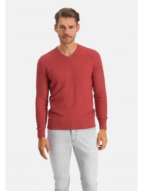 Pullover,-V-Ausschnitt,-Recycelte-Baumwolle-Mix---ziegel-uni