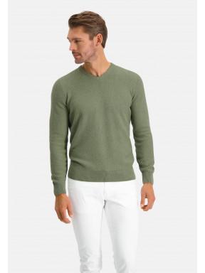Pullover,-V-Ausschnitt,-Recycelte-Baumwolle-Mix---blattgrün-uni
