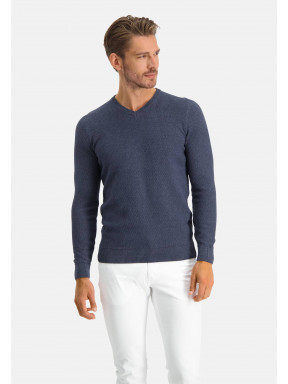 Pullover,-V-Ausschnitt,-Recycelte-Baumwolle-Mix---marine-uni