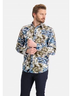 Hemd,-Botanic-Print---kobalt/blattgrün