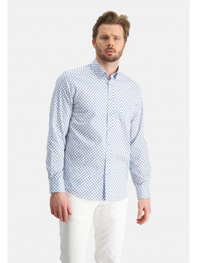Printed-shirt-with-reguar-fit---white/cobalt