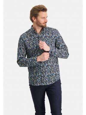 Shirt-with-a-floral-print---midnight/cobalt