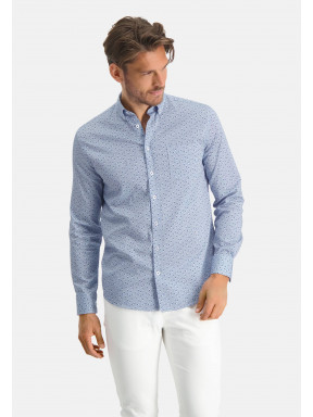 Shirt-made-of-stretch-cotton---cobalt/light-bleu