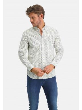 Hemd,-Grafik-Print---schwefelgelb/blattgrün