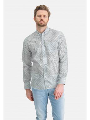 Hemd,-Grafik-Print---blattgrün/kobalt