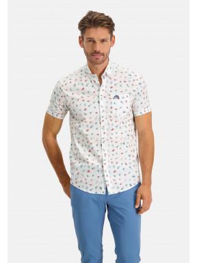 Bedrukt-overhemd---wijnrood/donkergroen