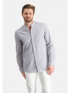 Shirt-with-stripes-and-stand-up-collar---cobalt/white