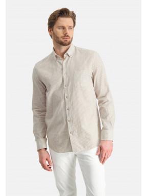 Striped-shirt-of-a-linen-blend---sand/white