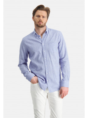Hemd,-Leinen-Mix---weiß/graublau