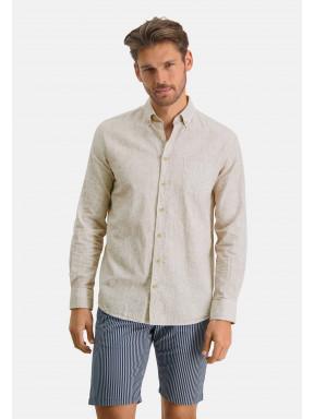Hemd,-Leinen-Mix---weiß/cognac