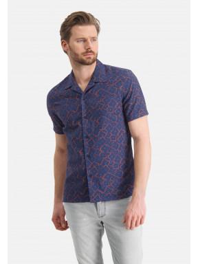 Shirt-of-a-linen-blend---cobalt/brick