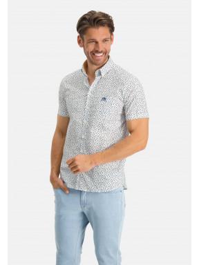 Overhemd-met-een-all-over-print---zwavelgeel/donkergroen
