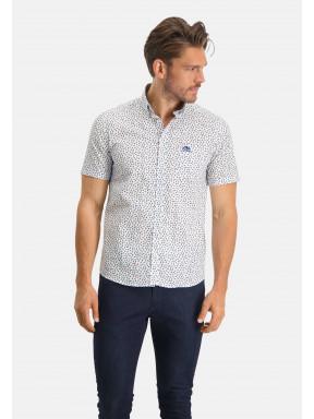 Overhemd-met-een-all-over-print---roze/donkergroen