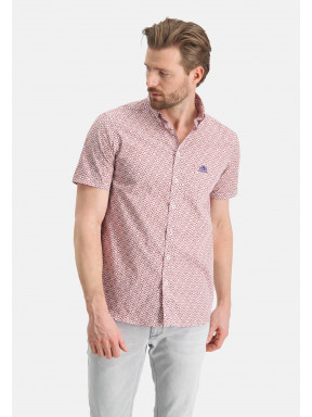 Korte-mouw-overhemd-met-print---brique/zand