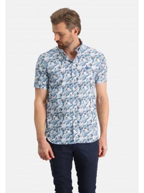 Bedrukt-overhemd-met-borstlogo---grijsblauw/zand