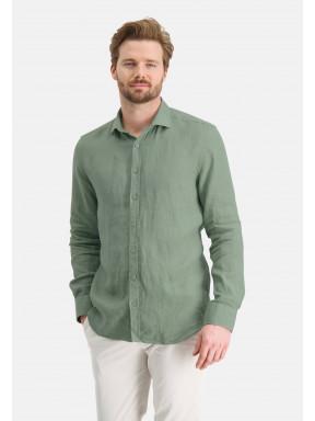 Linen-shirt-with-a-medium-cut-away---leafgreen-plain