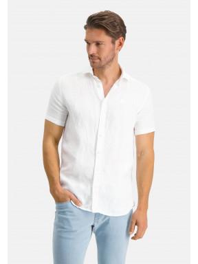 Short-sleeve-shirt-made-of-linen---white-plain