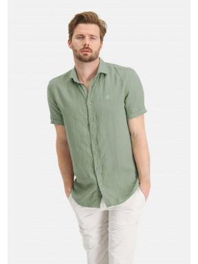 Short-sleeve-shirt-made-of-linen---leafgreen-plain