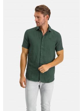 Short-sleeve-shirt-made-of-linen---dark-green-plain