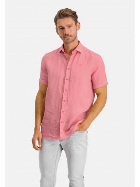 Short-sleeve-shirt-made-of-linen---pink-plain