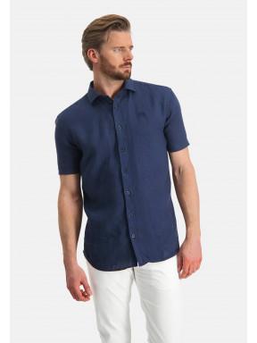 Short-sleeve-shirt-made-of-linen---dark-blue-plain