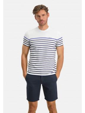 T-Shirt-Crew-Neck-Striped---white/cobalt