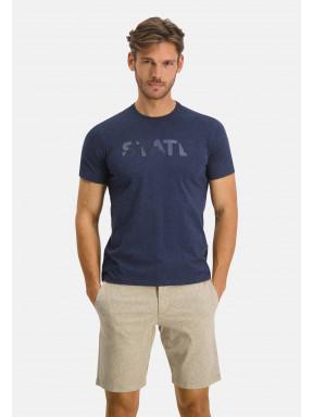 Ronde-hals-T-shirt-uni---donkerblauw-uni