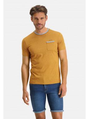 T-Shirt,-Rundhalsausschnitt,-uni---mango/kobalt