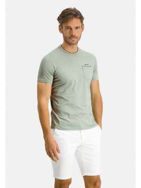 T-shirt-with-crew-neck-an-chest-pocket---emerald-green/sulphur