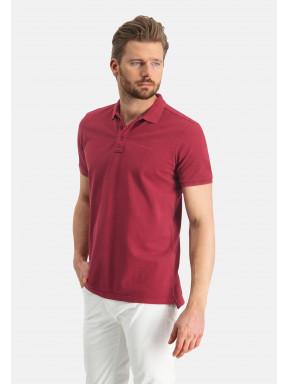 Poloshirt,-Piqué,-regular-fit---weinrot-uni
