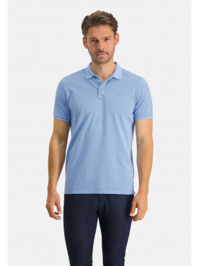 Poloshirt,-Piqué,-regular-fit---mittelblau-uni