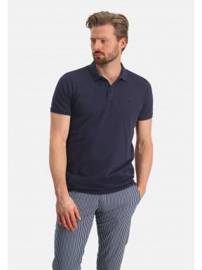 Poloshirt,-Piqué,-regular-fit---dunkelblau-uni