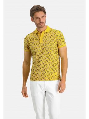 Poloshirt-Pique-Short-Sleeve-Print---sulphur/light-yellow