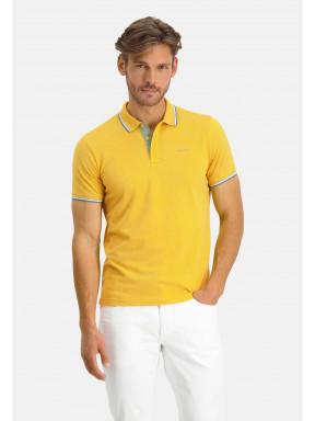 Poloshirt,-Piqué,-kurzarm,-uni---schwefelgelb/blattgrün
